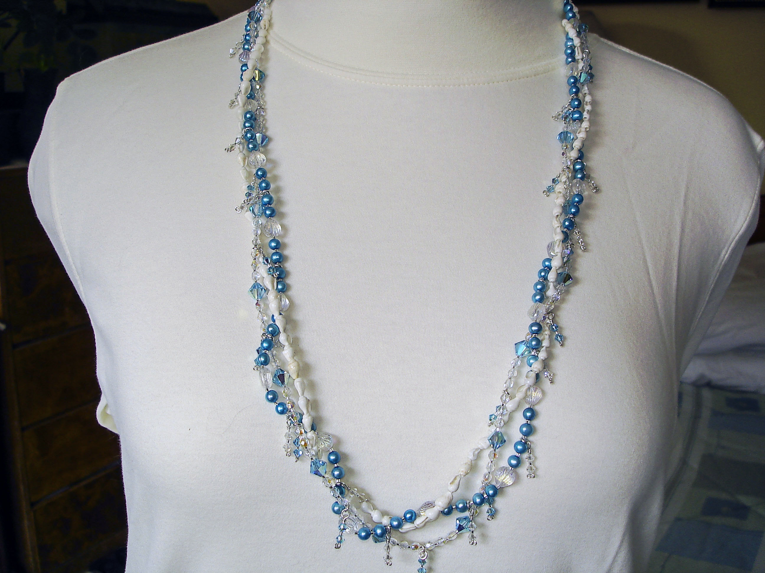 Seashell, Dyed Pearl, and Crystal Necklace